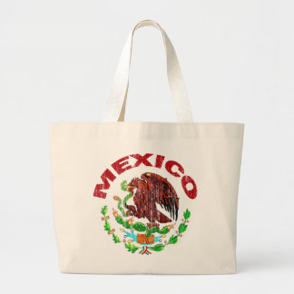 DISTRESSED MEXICO FLAG LARGE TOTE BAG