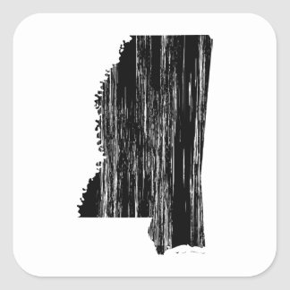 Distressed Mississippi State Outline Square Sticker
