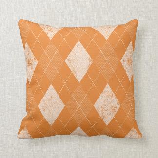 Distressed Monochrome Argyle Orange Throw Pillow