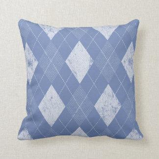 Distressed Monochrome Argyle Periwinkle Throw Pillow