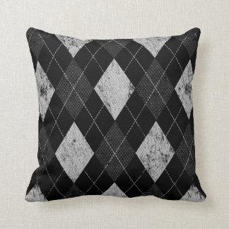 Distressed Monochrome Argyle Throw Pillow