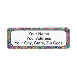 Distressed Multicolored 'Glass' Tiles Pattern Return Address Label