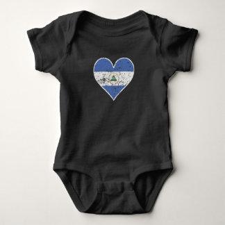 Distressed Nicaraguan Flag Heart Baby Bodysuit