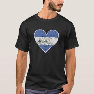 Distressed Nicaraguan Flag Heart T-Shirt