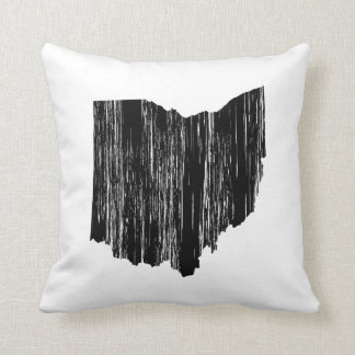 Distressed Ohio State Outline Throw Pillow