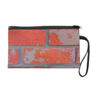 Distressed Orange Brick Wristlet