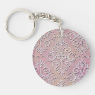 Distressed Pale Pink Damask Keychain
