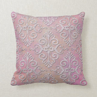 Distressed Pale Pink Damask Throw Pillow
