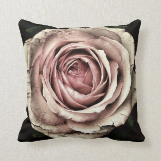 Distressed Pale Pink Rose on Black Throw Pillow