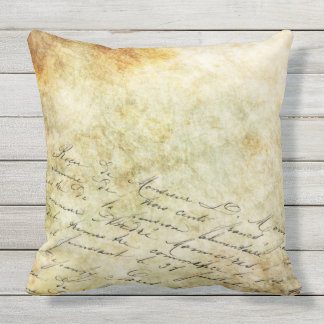 DISTRESSED PARCHMENT CALLIGRAPHY Throw Cushion