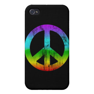 Distressed peace-rainbow iPhone 4 cover