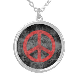 Distressed Peace Sign Silver Plated Necklace