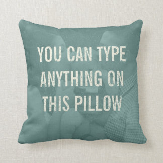 Distressed Personalized Antique Aqua Distressed Throw Pillow