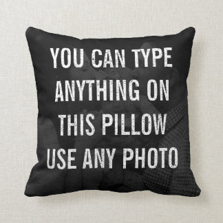 Distressed Personalized Black Photo Throw Pillow