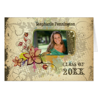 Distressed photo graduation party announcement greeting card