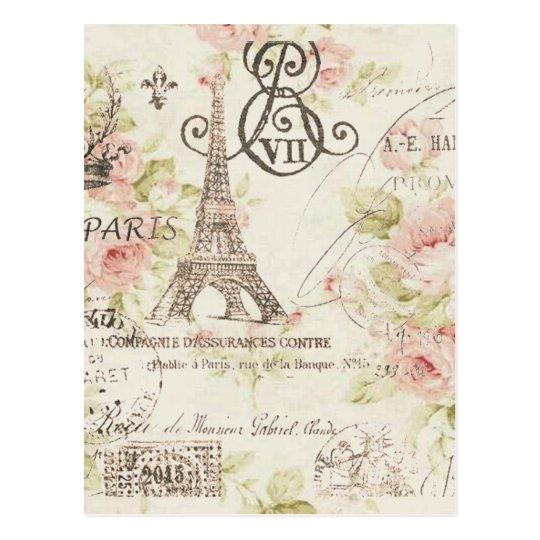 Distressed pink Floral Paris Eiffel Tower Postcard