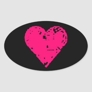 Distressed Pink Heart Car Stickers
