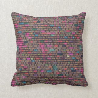 Distressed Pink Painted Bricks Throw Pillow