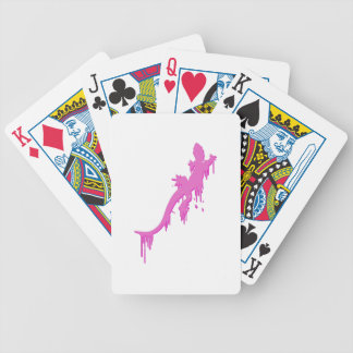 Distressed Pink Salamander With Paint Drip Bicycle Playing Cards