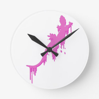 Distressed Pink Salamander With Paint Drip Round Clock