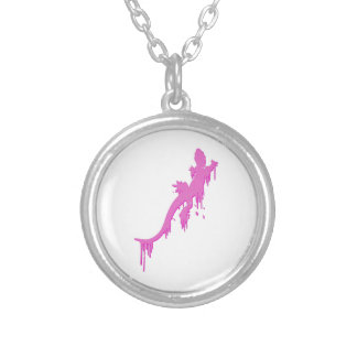 Distressed Pink Salamander With Paint Drip Silver Plated Necklace