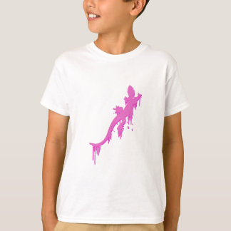Distressed Pink Salamander With Paint Drip T-Shirt