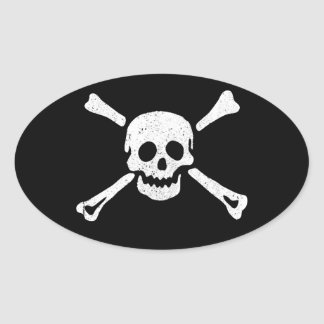 Distressed Pirate Skull and Crossbones Oval #1 Oval Sticker