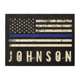 Distressed Police Style American Flag Personalized Wood Print