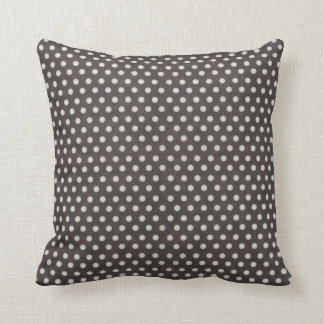 Distressed Polka Dot Pattern in Charcoal & White Throw Pillow