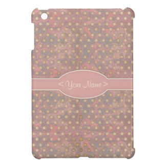 Distressed Polka Dot Pattern in Pink and Beige iPad Mini Cover