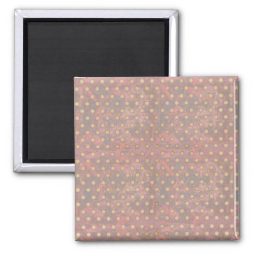 Distressed Polka Dot Pattern in Pink and Beige Magnets