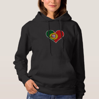 Distressed Portuguese Flag Heart Hoodie