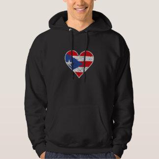 Distressed Puerto Rican Flag Heart Hoodie