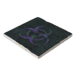 Distressed Purple Biohazard Symbol Trivet