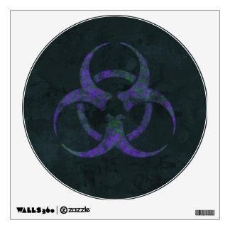 Distressed Purple Biohazard Symbol Wall Sticker
