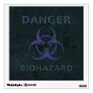 Distressed Purple Biohazard Warning Sign Wall Sticker