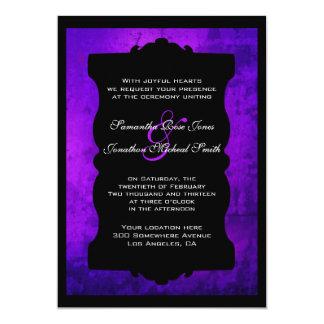 Distressed Purple Black Gothic Wedding Invitation