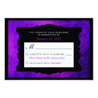 Distressed Purple Gothic Wedding RSVP Personalized Card