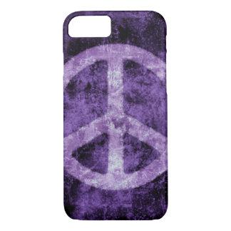 Distressed Purple Peace Sign iPhone 7 case