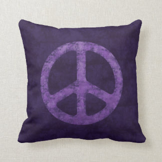 Distressed Purple Peace Sign Throw Pillow