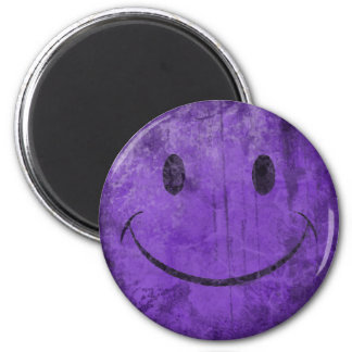 Distressed Purple Smiley Magnet