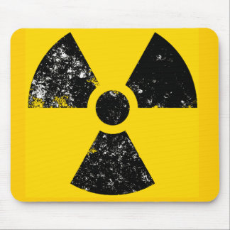 Distressed radiation symbol mouse pad