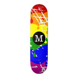 Distressed Rainbow dripping Monogram Skateboard