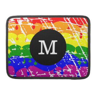 Distressed Rainbow dripping Monogram Sleeve For MacBooks