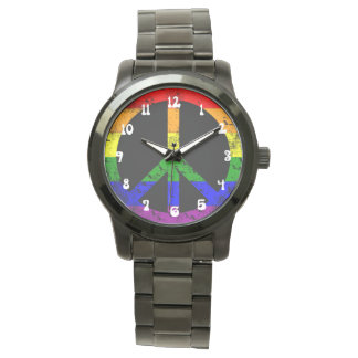 Distressed Rainbow Flag Peace sign Watches