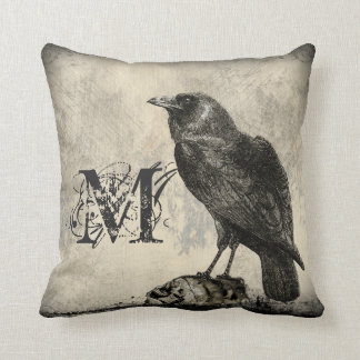 Distressed Raven Bird with Monogram Throw Pillow
