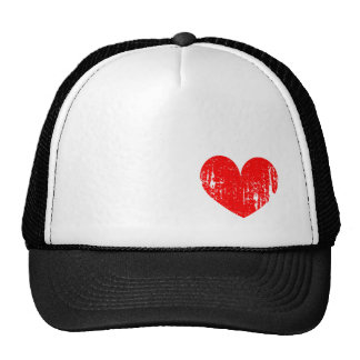Distressed red heart trucker hat