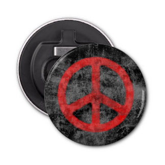 Distressed Red Peace Sign Bottle Opener