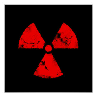 Distressed Red Radiation Symbol Poster