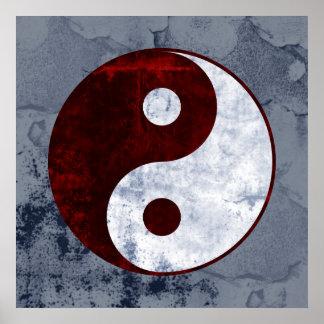Distressed Red & White Yin Yang Symbol Poster